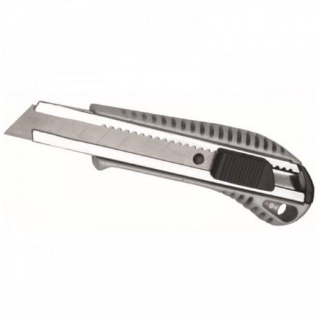 Nóż 18 mm ostrze odłamywane, rączka metalowa z gumą