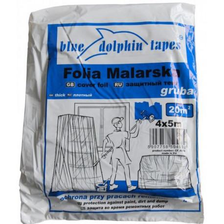 Folia malarska plandeka 4x5 m GRUBA niebieskie opakowanie