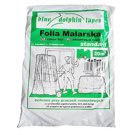 Folia malarska plandeka 4x5 m STANDARD zielone opakowanie
